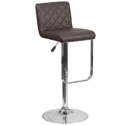 Novello Adjustable Height Swivel Bar Stool Upholstery: Brown