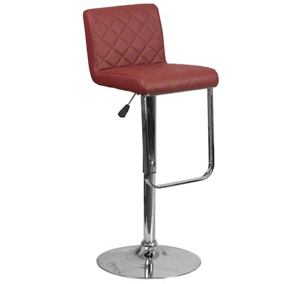 Novello Adjustable Height Swivel Bar Stool Upholstery: Burgundy