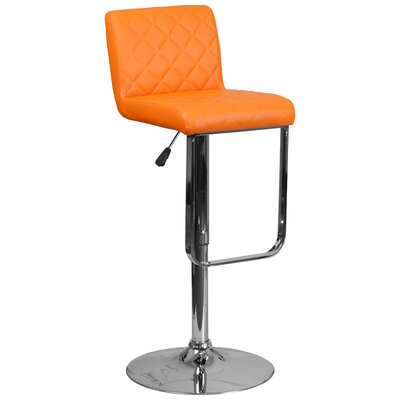 Novello Adjustable Height Swivel Bar Stool Upholstery: Orange