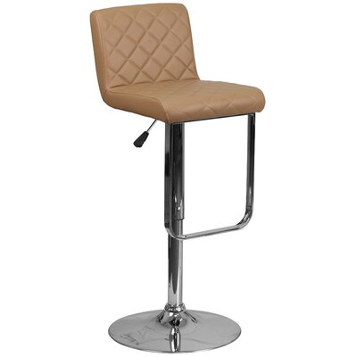 Novello Adjustable Height Swivel Bar Stool Upholstery: Cappuccino