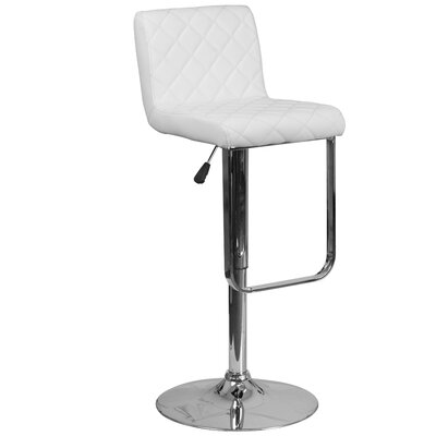 Novello Adjustable Height Swivel Bar Stool Upholstery: White