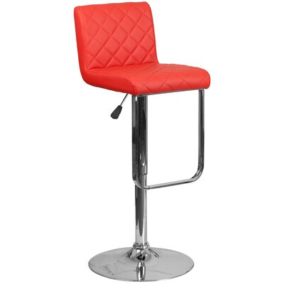 Novello Adjustable Height Swivel Bar Stool Upholstery: Red