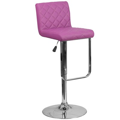 Novello Adjustable Height Swivel Bar Stool Upholstery: Purple