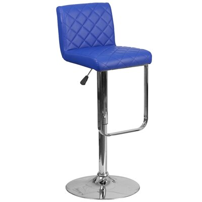 Adjustable Height Swivel Bar Stool Upholstery: Blue