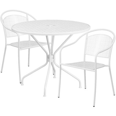 3 Piece Bistro Set Color: White