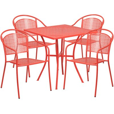 5 Piece Dining Set Finish: Coral