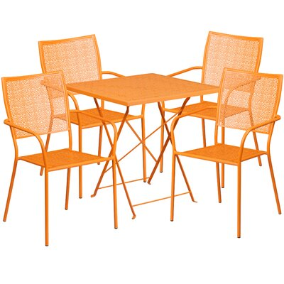 5 Piece Dining Set Finish: Orange