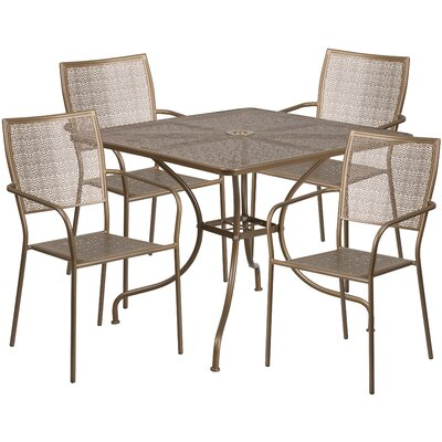 5 Piece Dining Set Finish: Gold