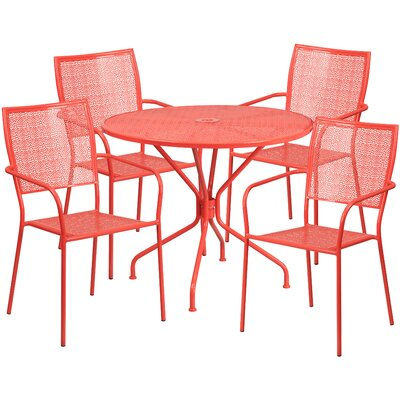 5 Piece Dining Set Color: Coral
