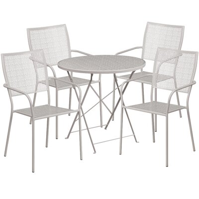 5 Piece Dining Set Color: Light Gray