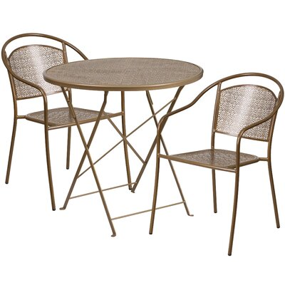 3 Piece Bistro Set Finish: Gold