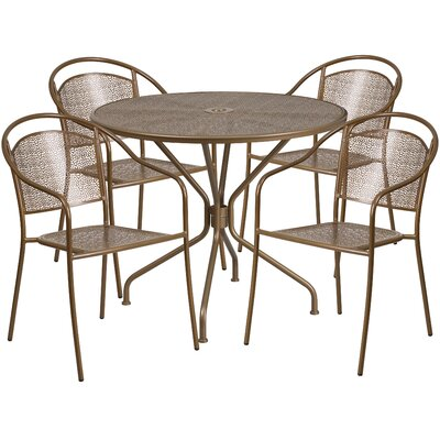 5 Piece Dining Set Color: Gold
