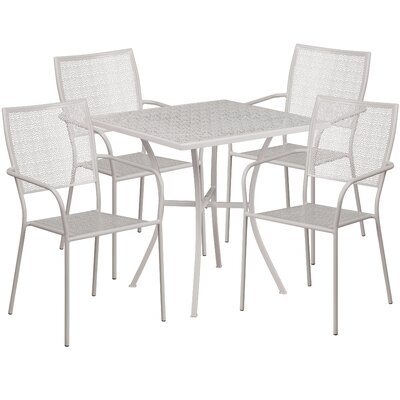 5 Piece Dining Set Finish: Light Gray
