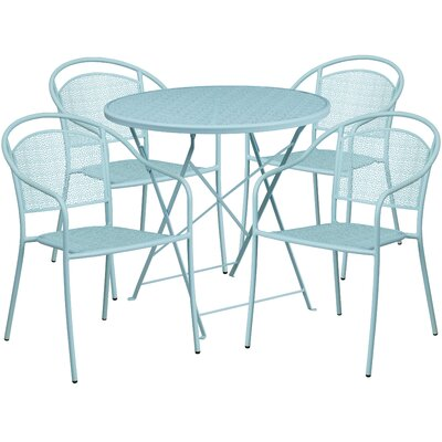 5 Piece Dining Set Color: Sky Blue