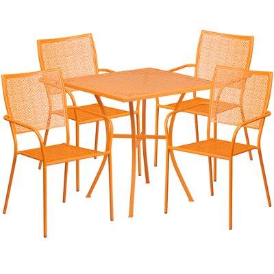 5 Piece Dining Set Finish: Orange