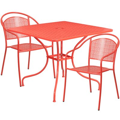 3 Piece Bistro Set Finish: Coral