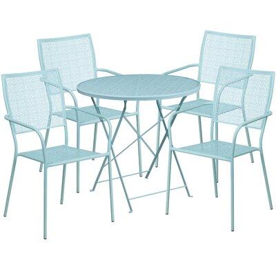 5 Piece Dining Set Color: Sky Blue