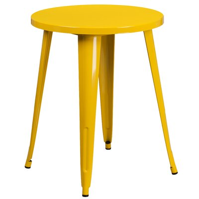 Bistro Table Table Size: 24 L x 24 W, Finish: Yellow