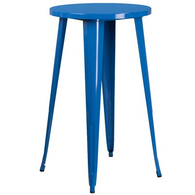Bar Table Table Size: 24 L x 24 W, Finish: Blue