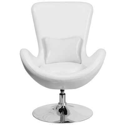 Palisades Leather Lounge Chair Seat Color: White