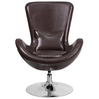 Egg Series Leather Lounge Chair Seat Color: Brown