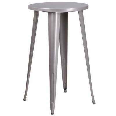 Bar Table Table Size: 24 L x 24 W, Finish: Silver