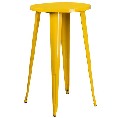Bar Table Table Size: 24 L x 24 W, Finish: Yellow