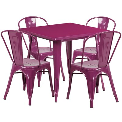 5 Piece Dining Set Finish: Purple