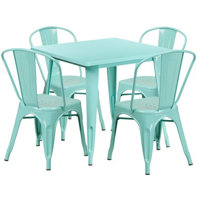 5 Piece Dining Set Finish: Mint Green