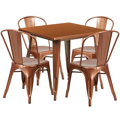 5 Piece Dining Set Finish: Copper
