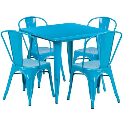 5 Piece Dining Set Finish: Crystal Blue