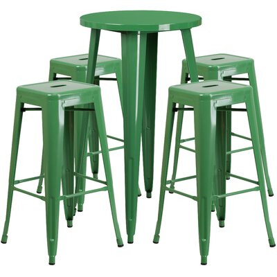 Metal Indoor/Outdoor 5 Piece Bar Set Finish: Green, Table Size: 41 H x 30 W x 30 L