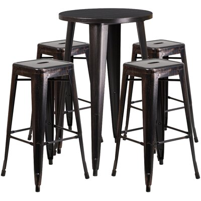 Metal Indoor/Outdoor 5 Piece Bar Set Finish: Black / Antique Gold, Table Size: 41 H x 24 W x 24 L