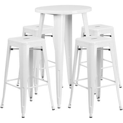 Metal Indoor/Outdoor 5 Piece Bar Set Finish: White, Table Size: 41 H x 30 W x 30 L
