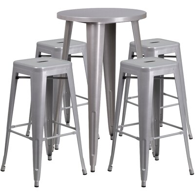 Metal Indoor/Outdoor 5 Piece Bar Set Finish: Silver, Table Size: 41 H x 30 W x 30 L