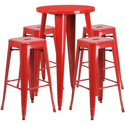 Colbert Metal Indoor/Outdoor 5 Piece Bar Set Finish: Red, Table Size: 41
