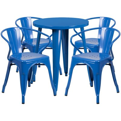 Metal Indoor/Outdoor 5 Piece Dining Set Finish: Blue, Table Size: 29.50 H x 30 W x 30 L