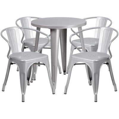Metal Indoor/Outdoor 5 Piece Dining Set Finish: Silver, Table Size: 29.50 H x 30 W x 30 L