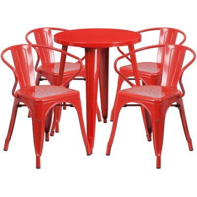 Metal Indoor/Outdoor 5 Piece Dining Set Finish: Red, Table Size: 29 H x 24 W x 24 L