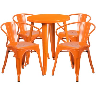 Metal Indoor/Outdoor 5 Piece Dining Set Finish: Orange, Table Size: 29 H x 24 W x 24 L