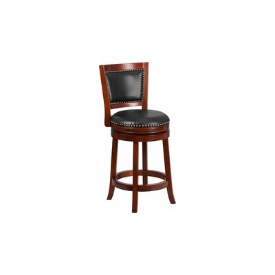 26 Swivel Bar Stool with Cushion Finish / Upholstery: Dark Cherry Wood / Walnut Leather