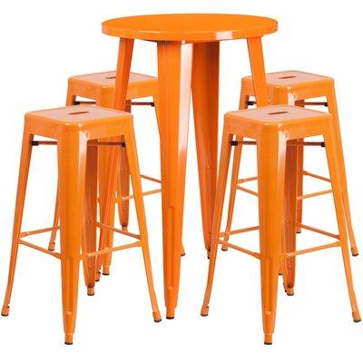 Colbert Metal Indoor/Outdoor 5 Piece Bar Set Finish: Orange, Table Size: 41