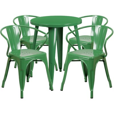 Metal Indoor/Outdoor 5 Piece Dining Set Finish: Green, Table Size: 29.50 H x 30 W x 30 L