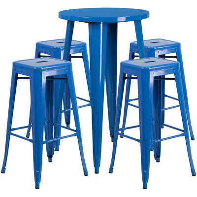 Metal Indoor/Outdoor 5 Piece Bar Set Finish: Blue, Table Size: 41 H x 30 W x 30 L
