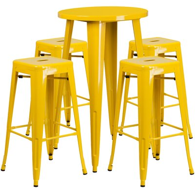 Metal Indoor/Outdoor 5 Piece Bar Set Finish: Yellow, Table Size: 41 H x 24 W x 24 L