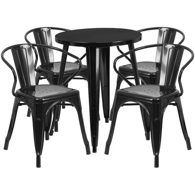 Metal Indoor/Outdoor 5 Piece Dining Set Finish: Black, Table Size: 29 H x 24 W x 24 L