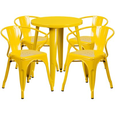 Metal Indoor/Outdoor 5 Piece Dining Set Finish: Yellow, Table Size: 29.50 H x 30 W x 30 L