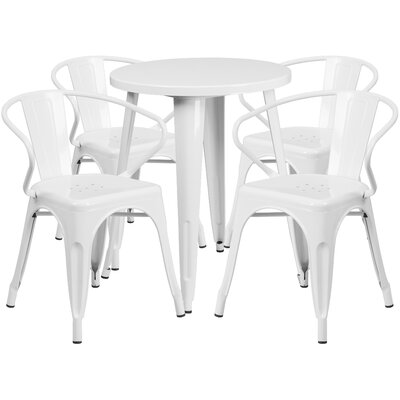 Metal Indoor/Outdoor 5 Piece Dining Set Finish: White, Table Size: 29.50 H x 30 W x 30 L