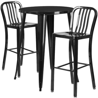 Metal Indoor/Outdoor 3 Piece Bar Set Finish: Black