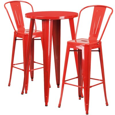 Metal Indoor/Outdoor 3 Piece Bar Set Finish: Red